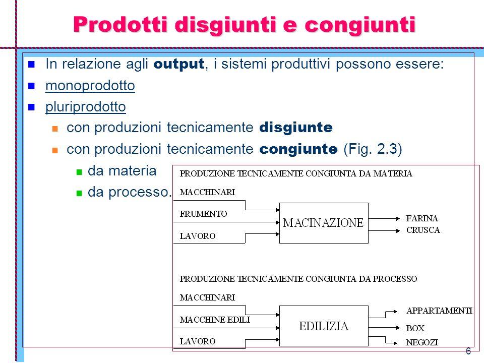 6 Prodotti disgiunti e congiunti In relazione agli output, i sistemi produttivi possono essere: monoprodotto pluriprodotto con produzioni tecnicamente