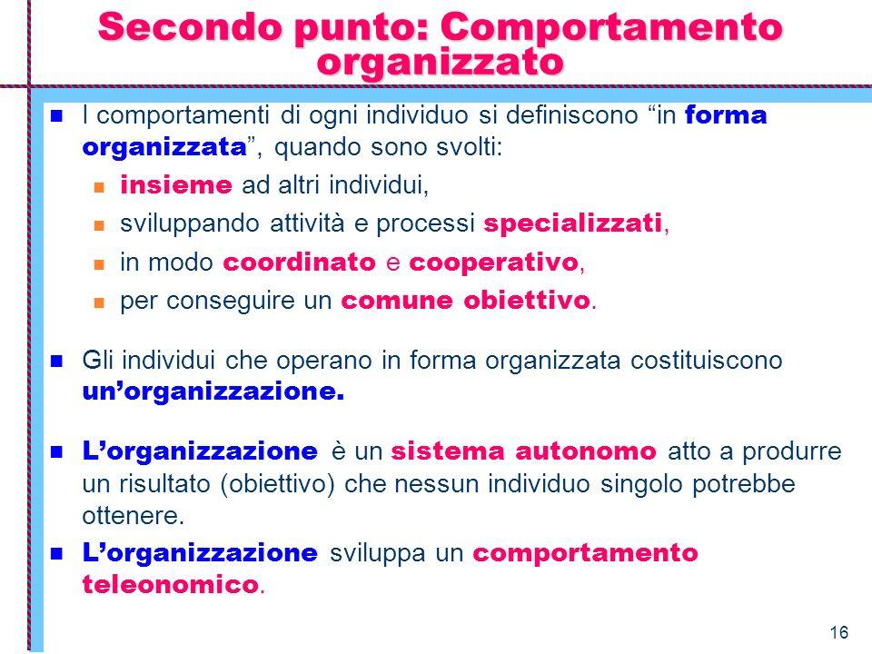16 I comportamenti di ogni individuo si definiscono in forma organizzata, quando sono svolti: insieme ad altri individui, sviluppando attività e proce