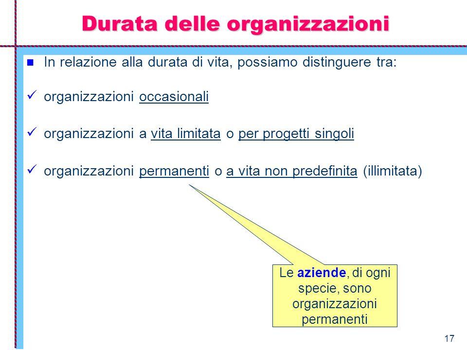 17 In relazione alla durata di vita, possiamo distinguere tra: organizzazioni occasionali organizzazioni a vita limitata o per progetti singoli organi