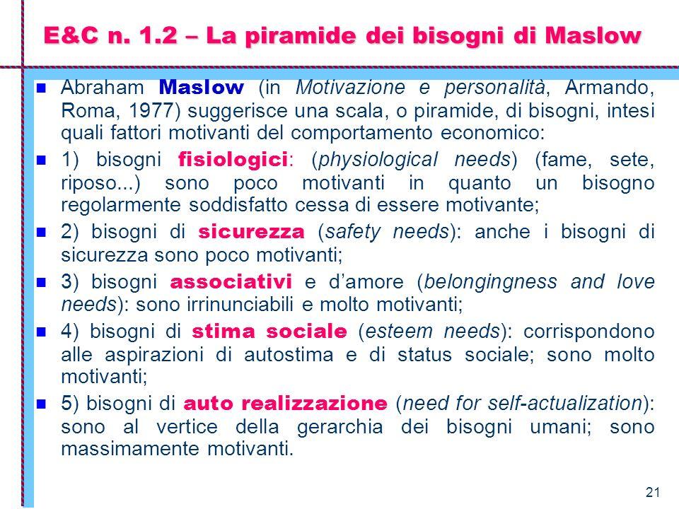 21 Abraham Maslow (in Motivazione e personalità, Armando, Roma, 1977) suggerisce una scala, o piramide, di bisogni, intesi quali fattori motivanti del