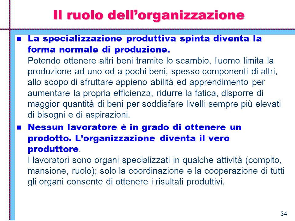 34 La specializzazione produttiva spinta diventa la forma normale di produzione. Potendo ottenere altri beni tramite lo scambio, luomo limita la produ