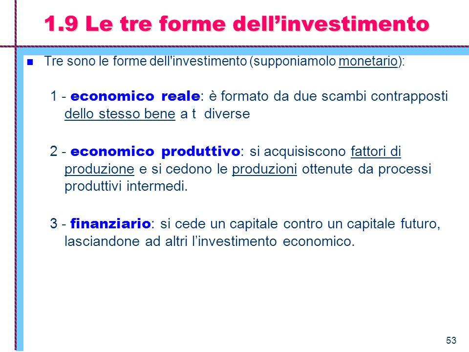 53 Tre sono le forme dell'investimento (supponiamolo monetario): 1 - economico reale : è formato da due scambi contrapposti dello stesso bene a t dive