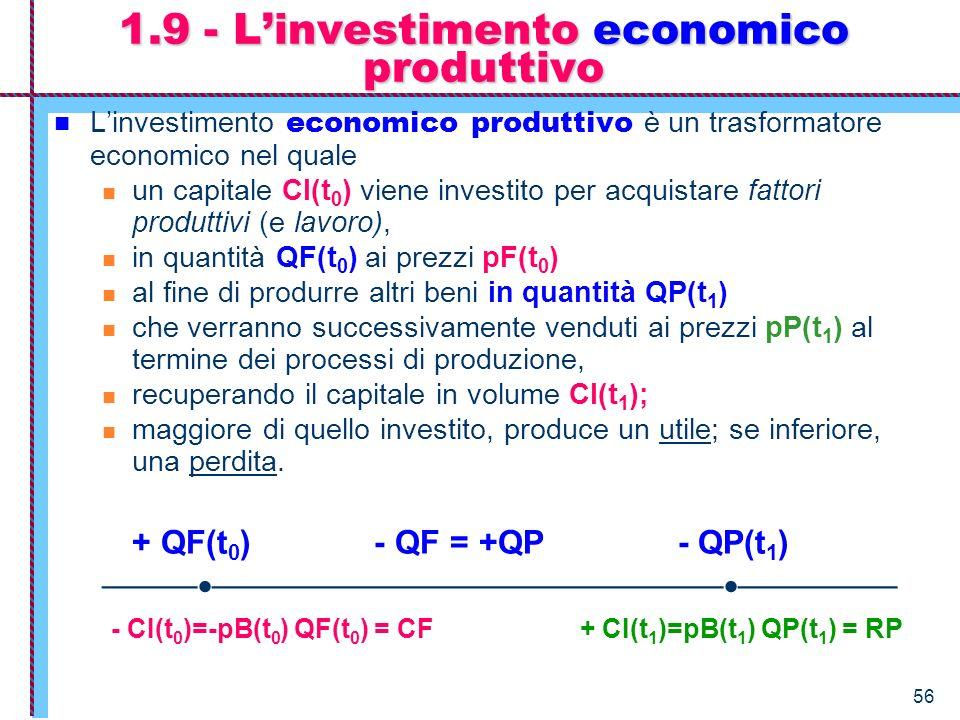56 Linvestimento economico produttivo è un trasformatore economico nel quale un capitale CI(t 0 ) viene investito per acquistare fattori produttivi (e