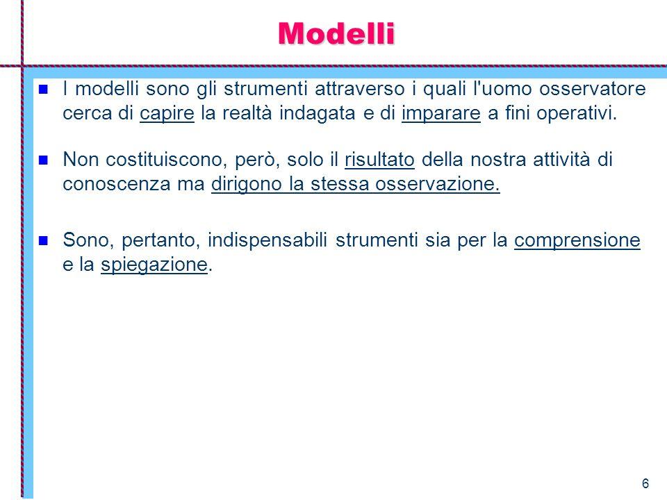 6 Modelli I modelli sono gli strumenti attraverso i quali l'uomo osservatore cerca di capire la realtà indagata e di imparare a fini operativi. Non co
