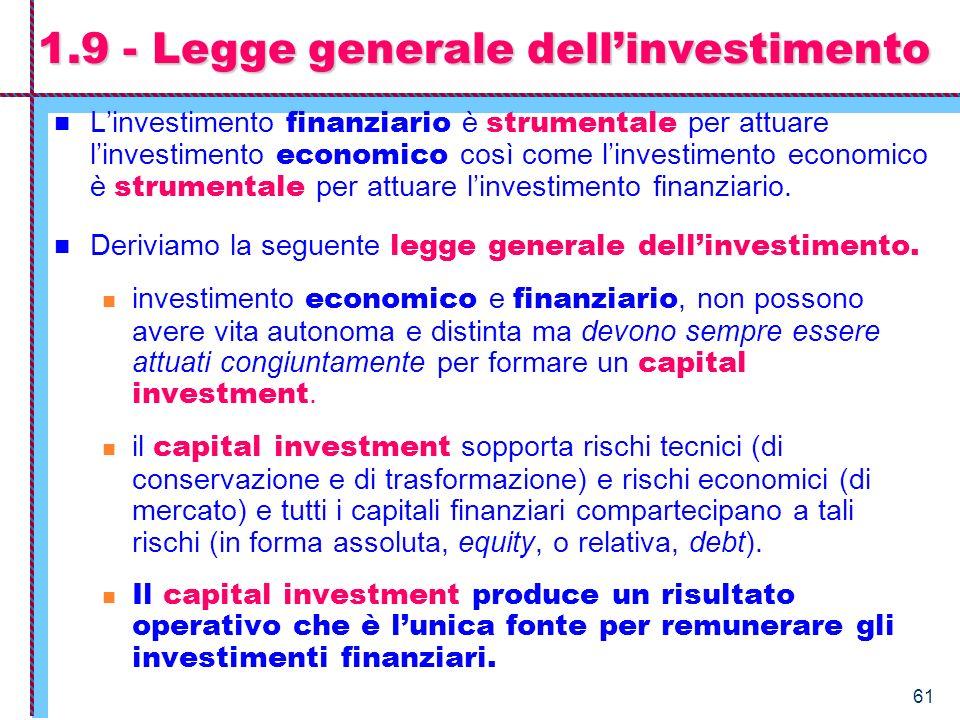 61 1.9 - Legge generale dellinvestimento Linvestimento finanziario è strumentale per attuare linvestimento economico così come linvestimento economico