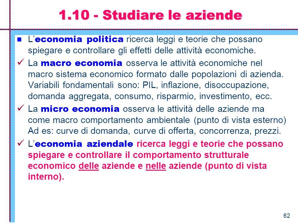 62 L economia politica ricerca leggi e teorie che possano spiegare e controllare gli effetti delle attività economiche. La macro economia osserva le a