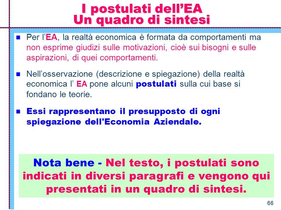 66 Per lEA, la realtà economica è formata da comportamenti ma non esprime giudizi sulle motivazioni, cioè sui bisogni e sulle aspirazioni, di quei com