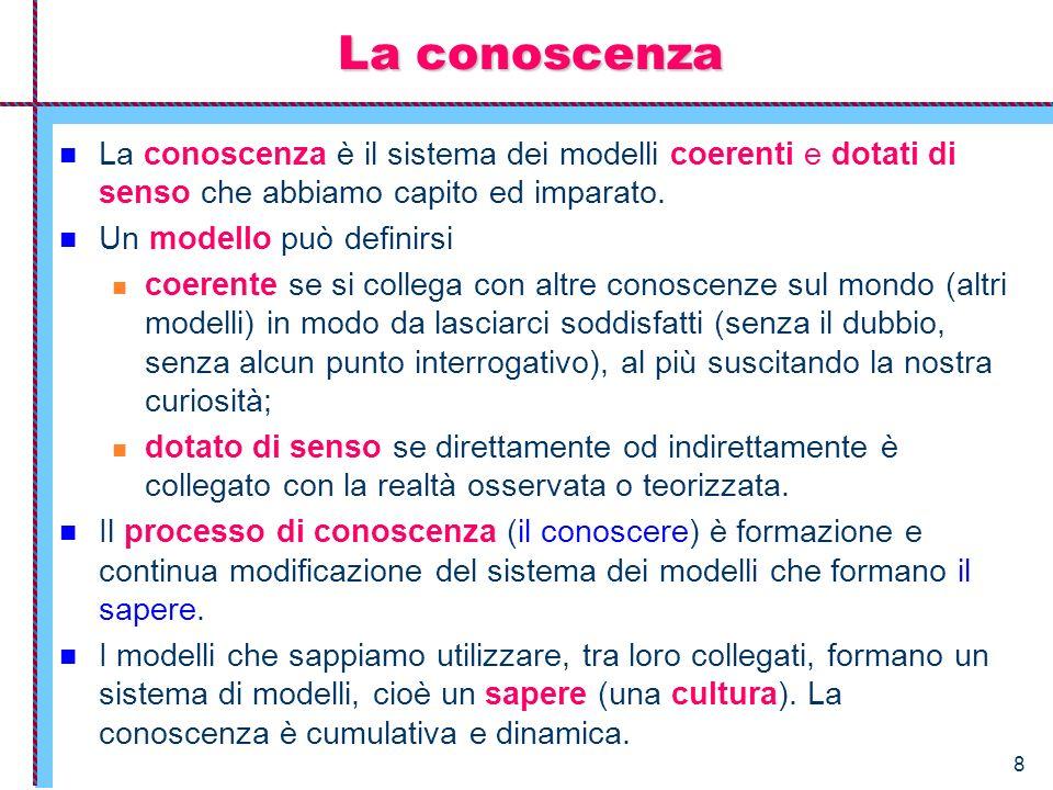 8 La conoscenza La conoscenza è il sistema dei modelli coerenti e dotati di senso che abbiamo capito ed imparato. Un modello può definirsi coerente se