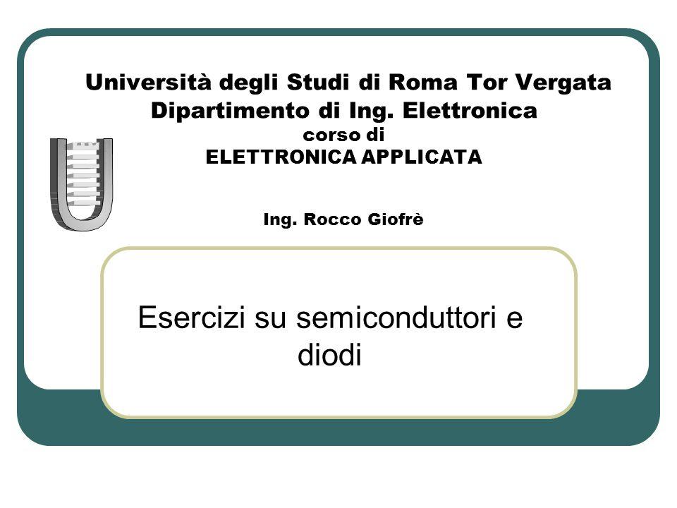 Università degli Studi di Roma Tor Vergata Dipartimento di Ing. Elettronica corso di ELETTRONICA APPLICATA Ing. Rocco Giofrè Esercizi su semiconduttor