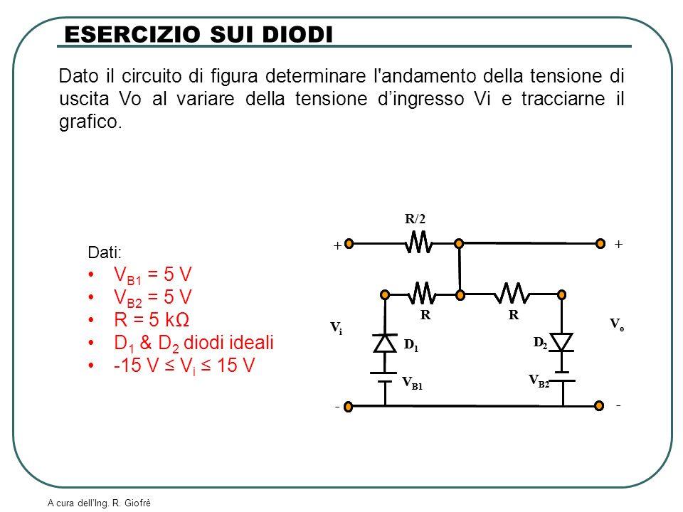 A cura dellIng. R. Giofrè Dato il circuito di figura determinare l'andamento della tensione di uscita Vo al variare della tensione dingresso Vi e trac