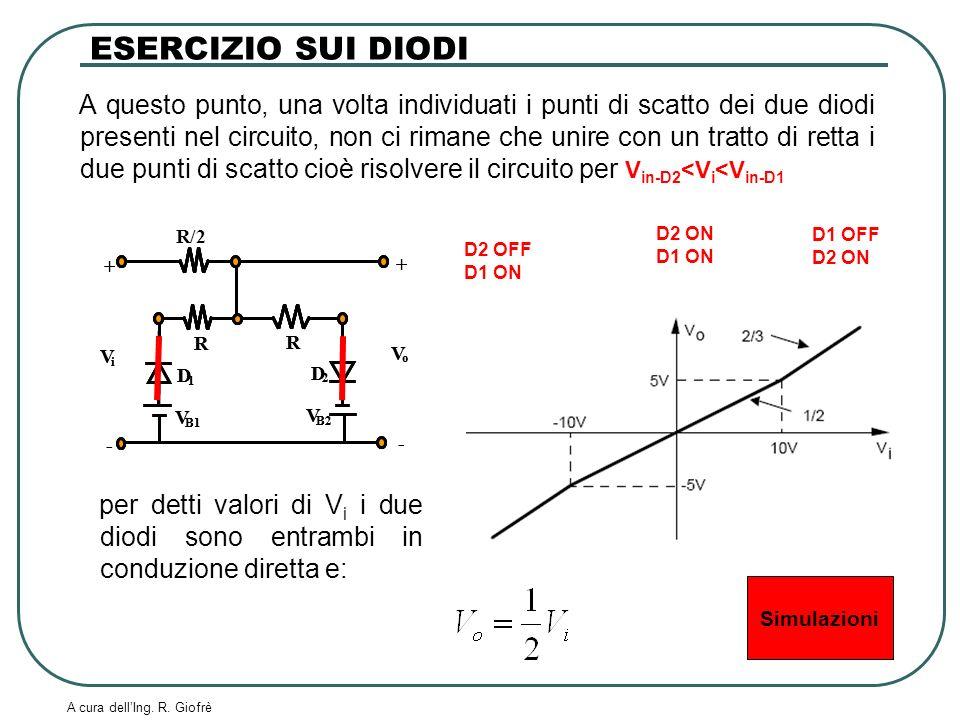 A cura dellIng. R. Giofrè A questo punto, una volta individuati i punti di scatto dei due diodi presenti nel circuito, non ci rimane che unire con un