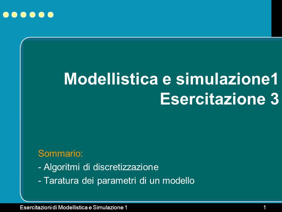 Esercitazioni di Modellistica e Simulazione 11 Modellistica e simulazione1 Esercitazione 3 Sommario: - Algoritmi di discretizzazione - Taratura dei pa