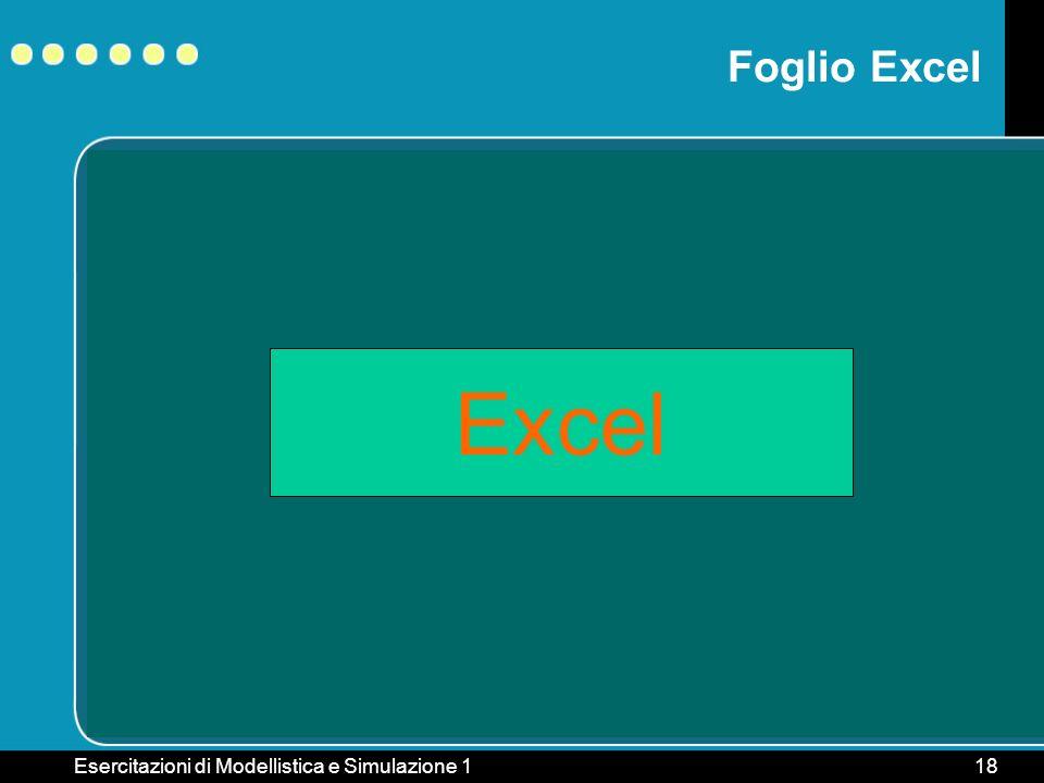 Esercitazioni di Modellistica e Simulazione 118 Excel Foglio Excel