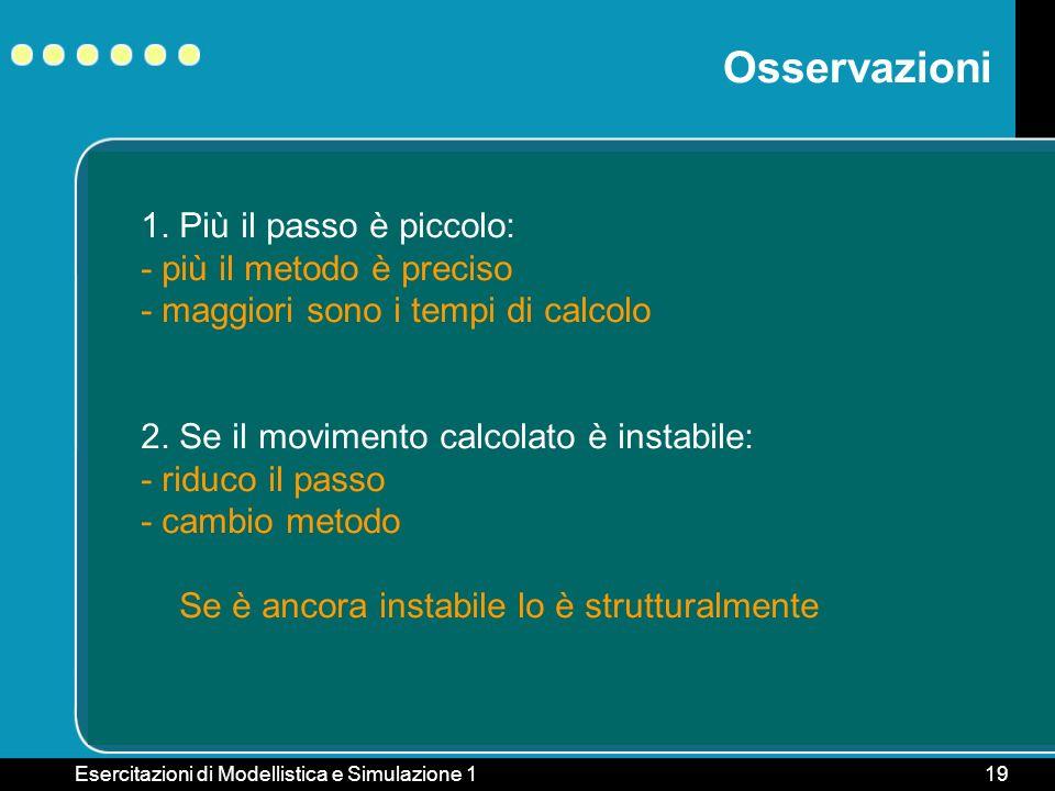 Esercitazioni di Modellistica e Simulazione 119 Osservazioni 1. Più il passo è piccolo: - più il metodo è preciso - maggiori sono i tempi di calcolo 2