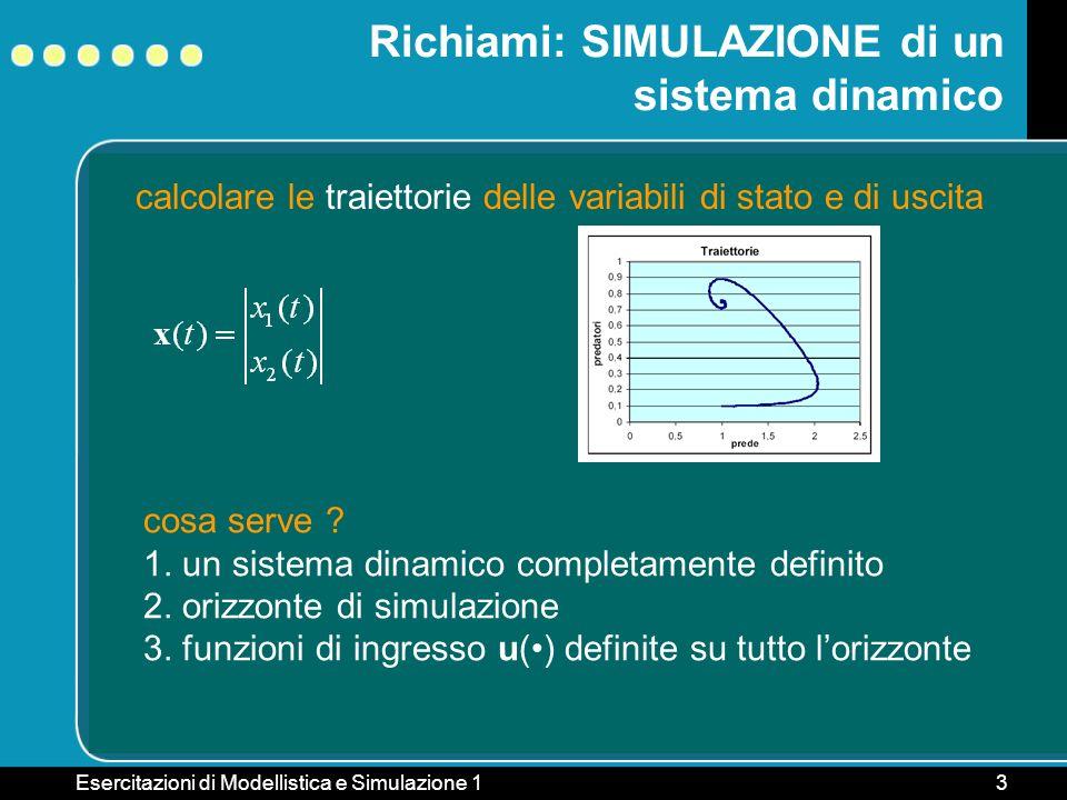 Esercitazioni di Modellistica e Simulazione 13 Richiami: SIMULAZIONE di un sistema dinamico cosa serve ? 1. un sistema dinamico completamente definito