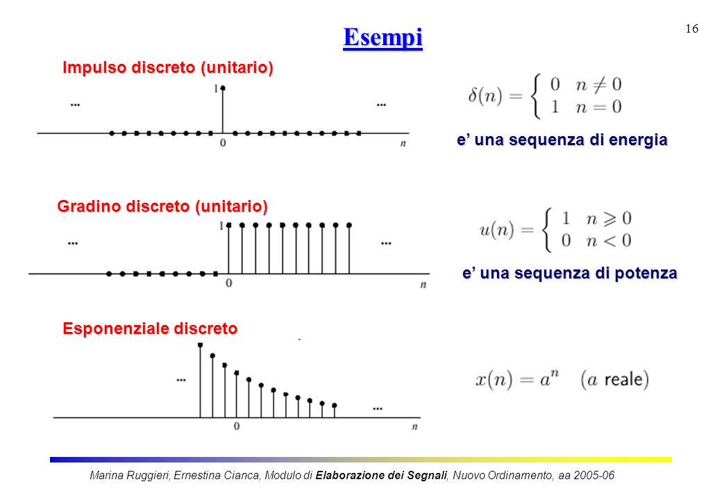 Marina Ruggieri, Ernestina Cianca, Modulo di Elaborazione dei Segnali, Nuovo Ordinamento, aa 2005-06 16 Esempi Esempi Impulso discreto (unitario) e un