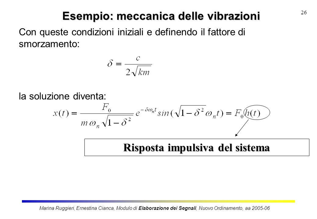 Marina Ruggieri, Ernestina Cianca, Modulo di Elaborazione dei Segnali, Nuovo Ordinamento, aa 2005-06 26 Esempio: meccanica delle vibrazioni Con queste