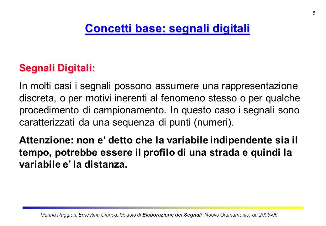 Marina Ruggieri, Ernestina Cianca, Modulo di Elaborazione dei Segnali, Nuovo Ordinamento, aa 2005-06 5 Segnali Digitali: In molti casi i segnali posso