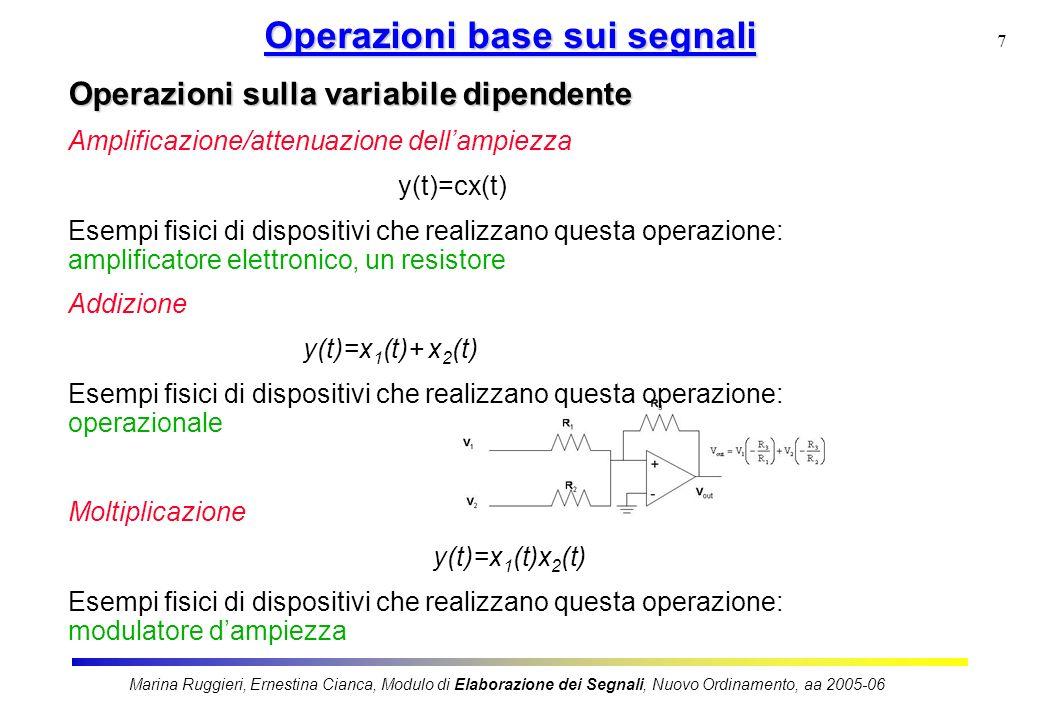 Marina Ruggieri, Ernestina Cianca, Modulo di Elaborazione dei Segnali, Nuovo Ordinamento, aa 2005-06 7 Operazioni base sui segnali Operazioni sulla va