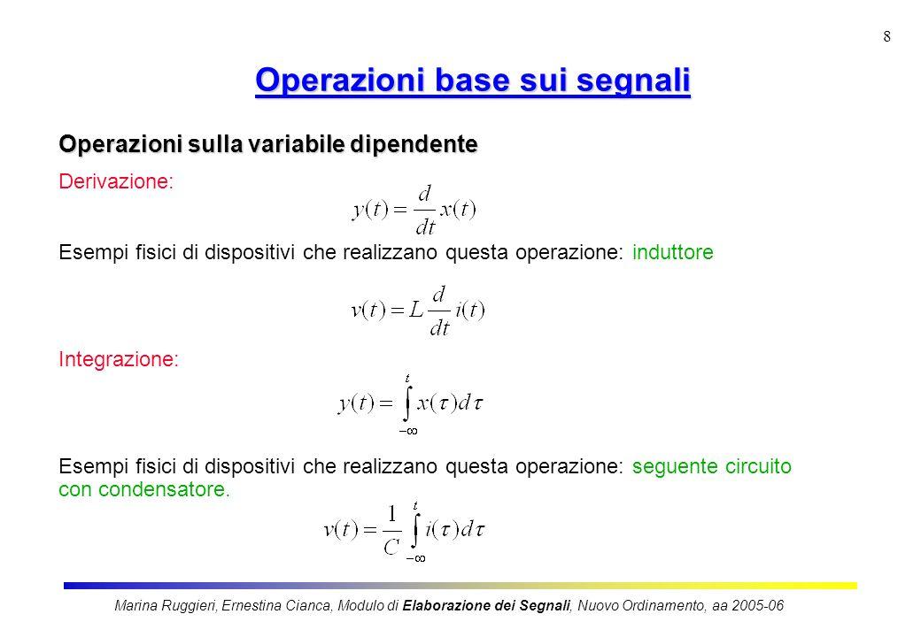 Marina Ruggieri, Ernestina Cianca, Modulo di Elaborazione dei Segnali, Nuovo Ordinamento, aa 2005-06 8 Operazioni base sui segnali Operazioni sulla va