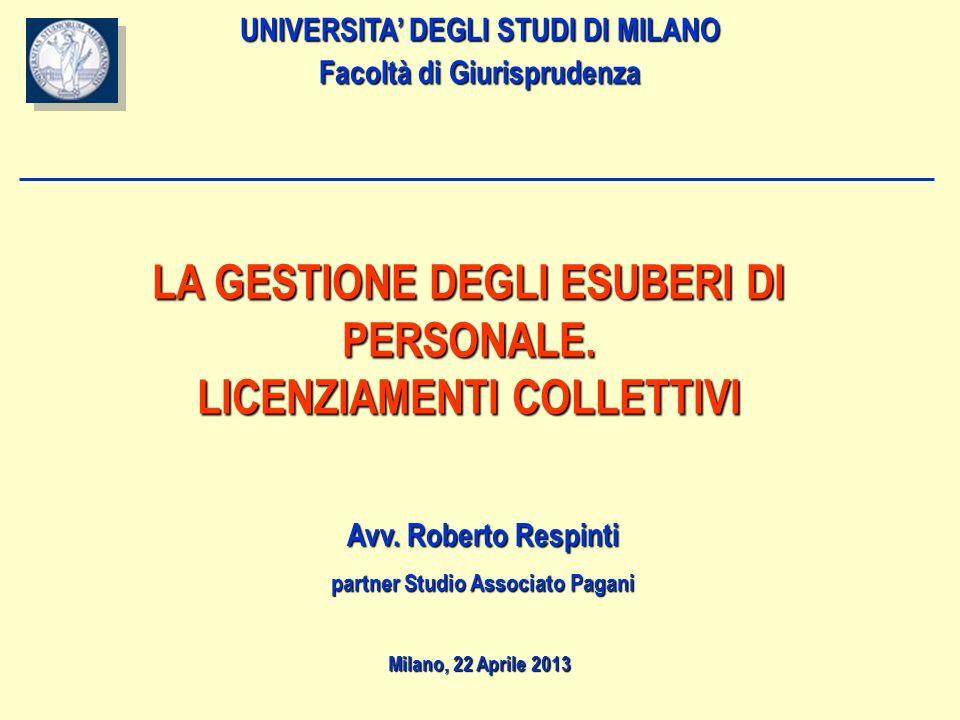NORME DI RIFERIMENTO ART.4 L. 223/91 1.