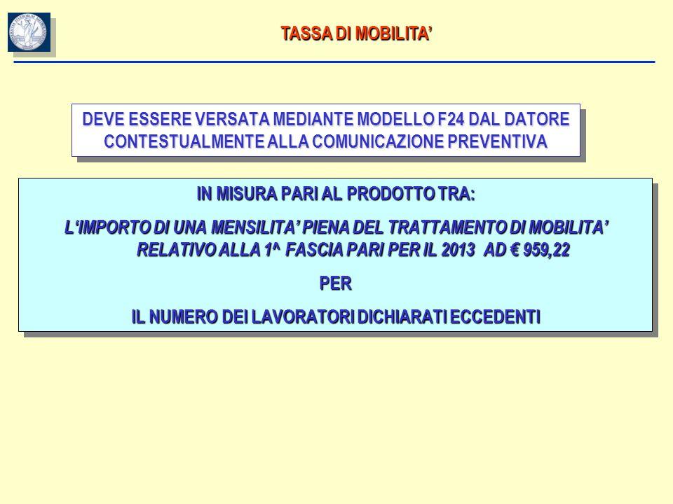 TASSA DI MOBILITA DEVE ESSERE VERSATA MEDIANTE MODELLO F24 DAL DATORE CONTESTUALMENTE ALLA COMUNICAZIONE PREVENTIVA IN MISURA PARI AL PRODOTTO TRA: LI
