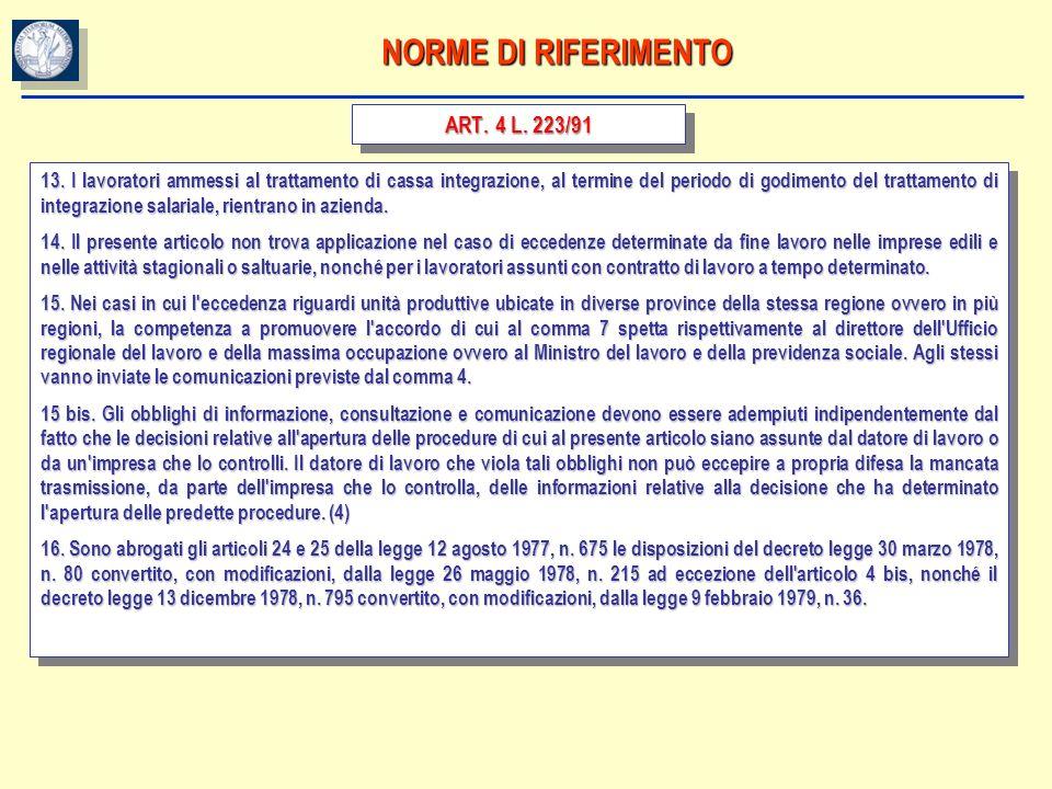 NORME DI RIFERIMENTO ART. 4 L. 223/91 13. I lavoratori ammessi al trattamento di cassa integrazione, al termine del periodo di godimento del trattamen