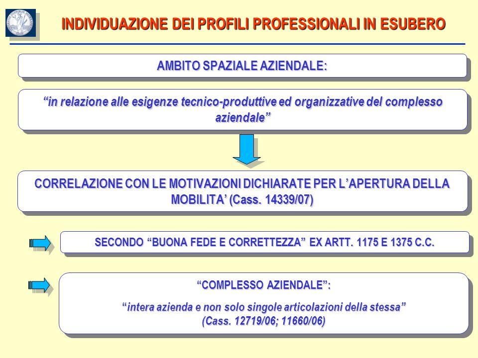 INDIVIDUAZIONE DEI PROFILI PROFESSIONALI IN ESUBERO AMBITO SPAZIALE AZIENDALE: in relazione alle esigenze tecnico-produttive ed organizzative del comp