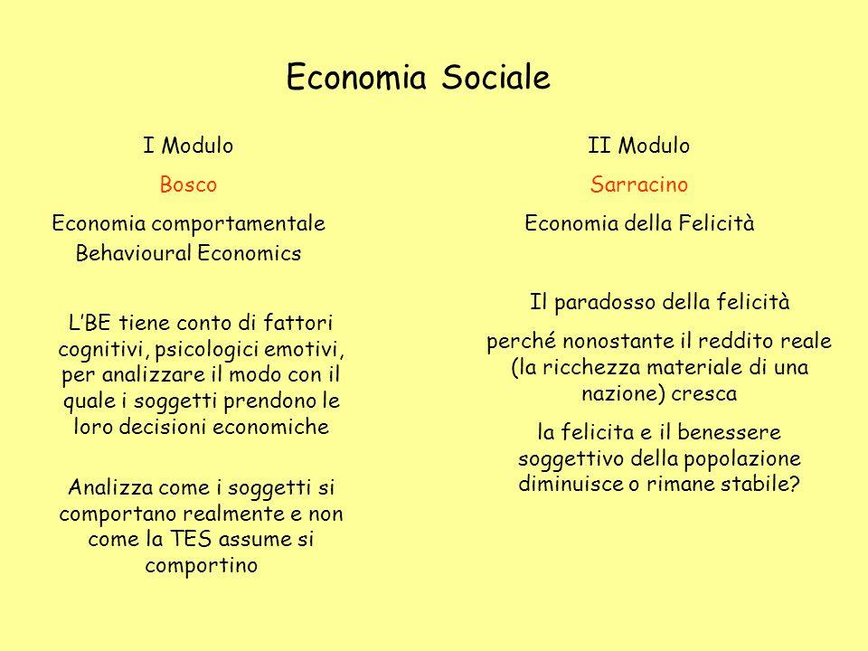 Economia Sociale I Modulo Bosco Economia comportamentale Behavioural Economics LBE tiene conto di fattori cognitivi, psicologici emotivi, per analizza