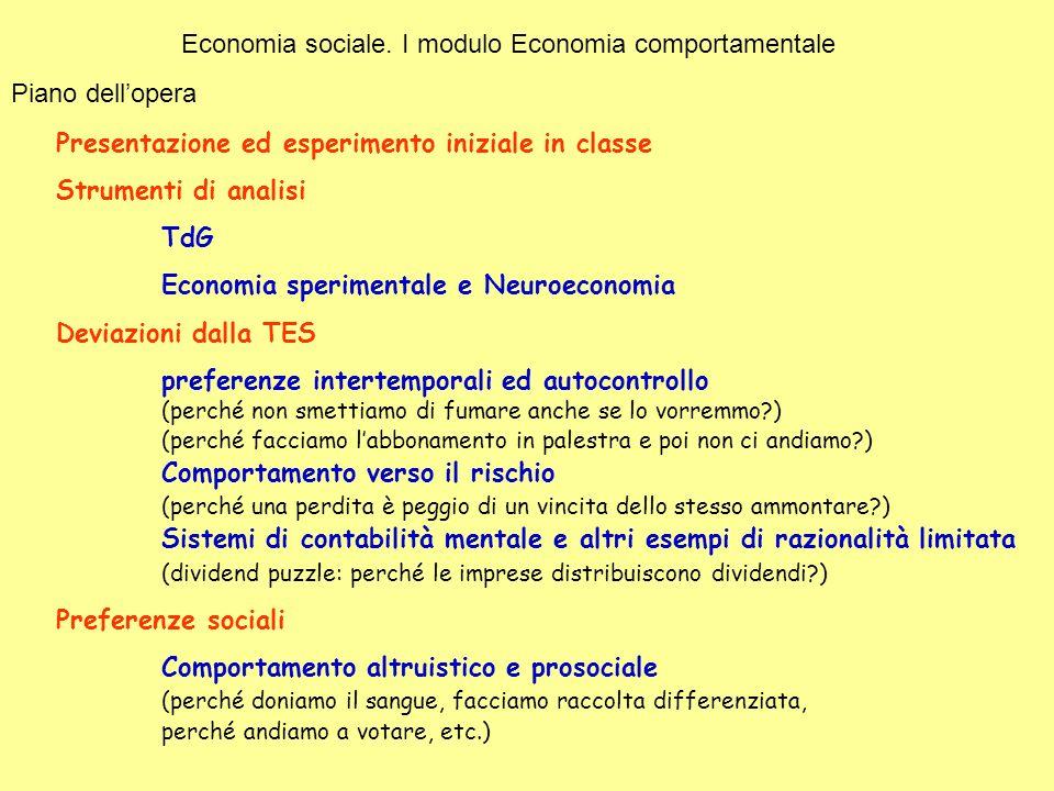 Economia sociale. I modulo Economia comportamentale Piano dellopera Presentazione ed esperimento iniziale in classe Strumenti di analisi TdG Economia