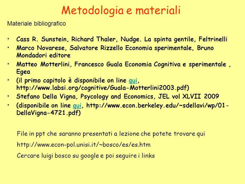 Metodologia e materiali Cass R. Sunstein, Richard Thaler, Nudge. La spinta gentile, Feltrinelli Marco Novarese, Salvatore Rizzello Economia sperimenta