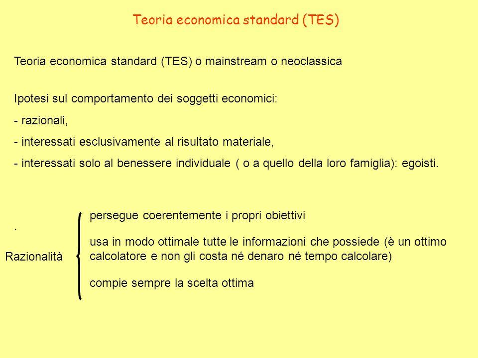 Teoria economica standard (TES) o mainstream o neoclassica Teoria economica standard (TES) Ipotesi sul comportamento dei soggetti economici: - raziona