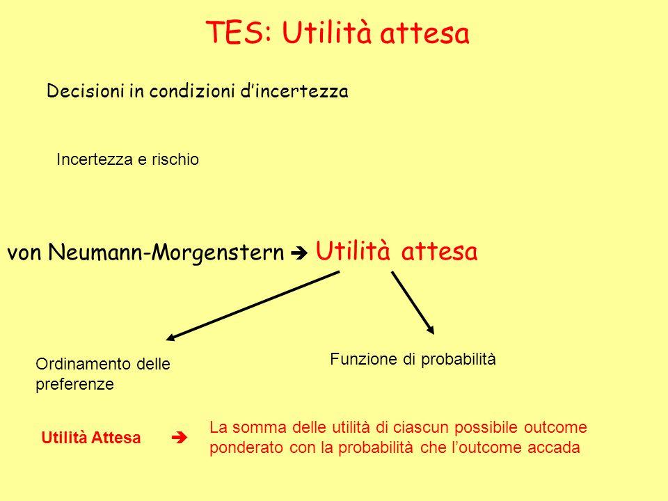 TES: Utilità attesa Decisioni in condizioni dincertezza Incertezza e rischio von Neumann-Morgenstern Utilità attesa Ordinamento delle preferenze Funzi