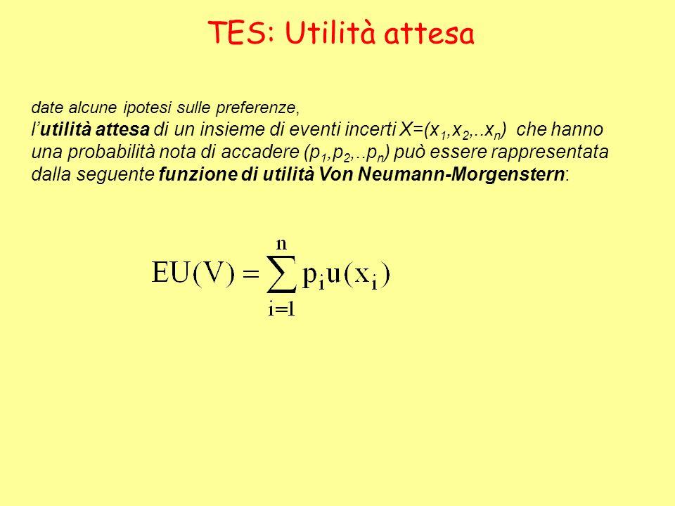 TES: Utilità attesa date alcune ipotesi sulle preferenze, lutilità attesa di un insieme di eventi incerti X=(x 1,x 2,..x n ) che hanno una probabilità