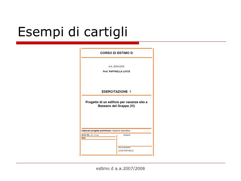 estimo d a.a.2007/2008 Esempi di cartigli