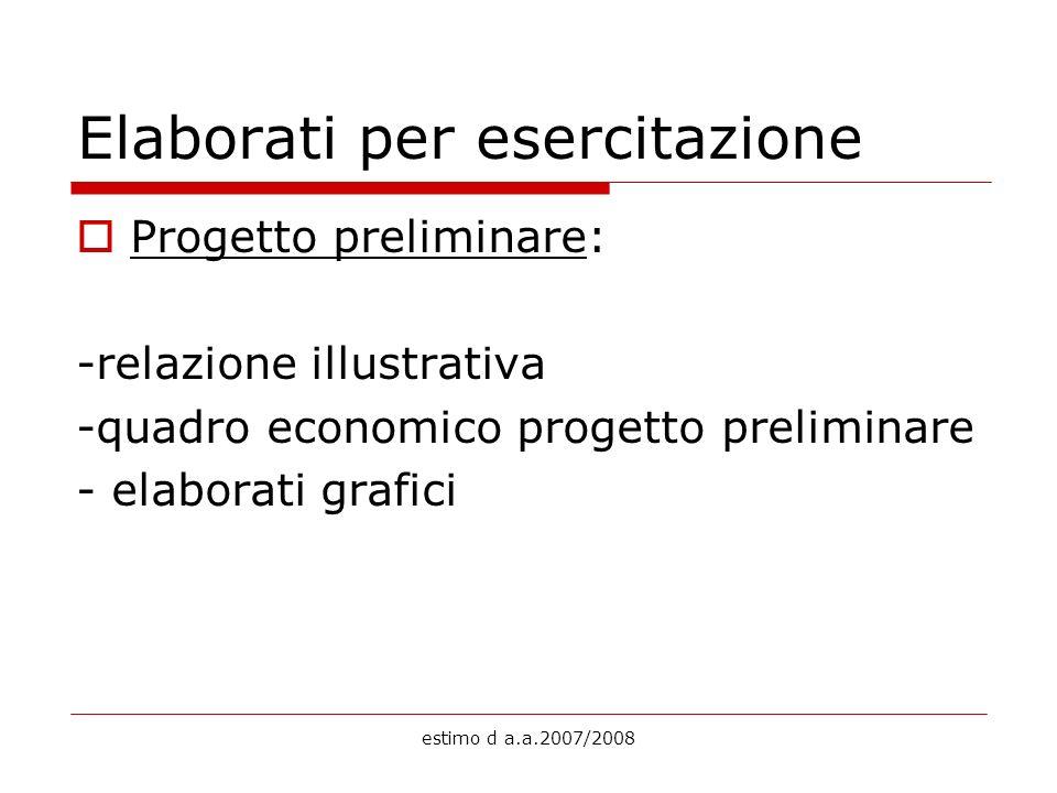 estimo d a.a.2007/2008 Elaborati per esercitazione Progetto preliminare: -relazione illustrativa -quadro economico progetto preliminare - elaborati gr