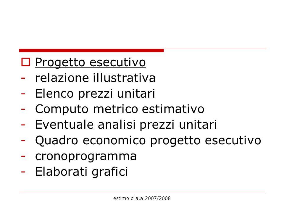 estimo d a.a.2007/2008 Progetto esecutivo -relazione illustrativa -Elenco prezzi unitari -Computo metrico estimativo -Eventuale analisi prezzi unitari