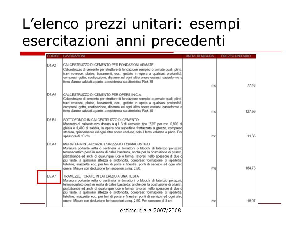 estimo d a.a.2007/2008 Lelenco prezzi unitari: esempi esercitazioni anni precedenti