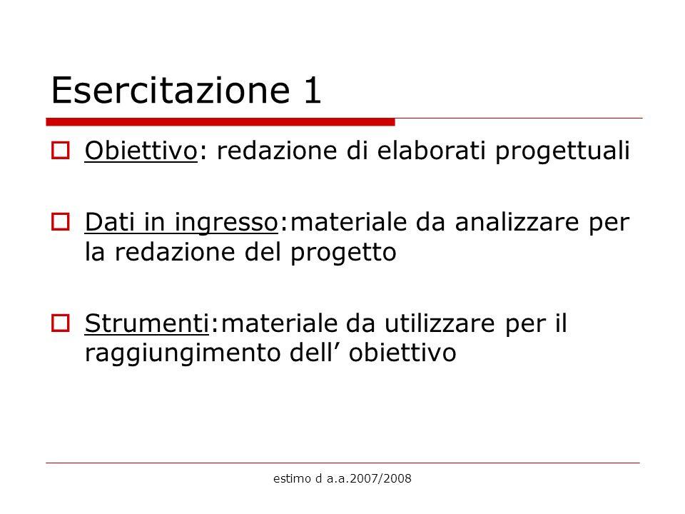estimo d a.a.2007/2008 Esercitazione 1 Obiettivo: redazione di elaborati progettuali Dati in ingresso:materiale da analizzare per la redazione del pro