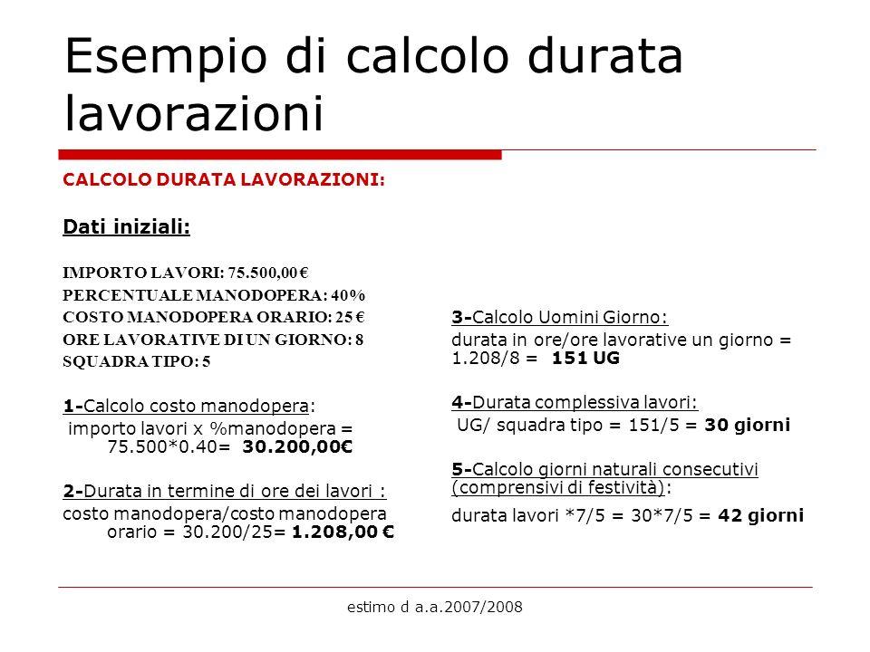 estimo d a.a.2007/2008 Esempio di calcolo durata lavorazioni CALCOLO DURATA LAVORAZIONI: Dati iniziali: IMPORTO LAVORI: 75.500,00 PERCENTUALE MANODOPE