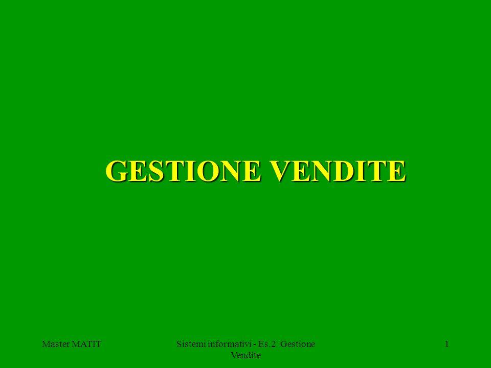 Master MATITSistemi informativi - Es.2 Gestione Vendite 1 GESTIONE VENDITE