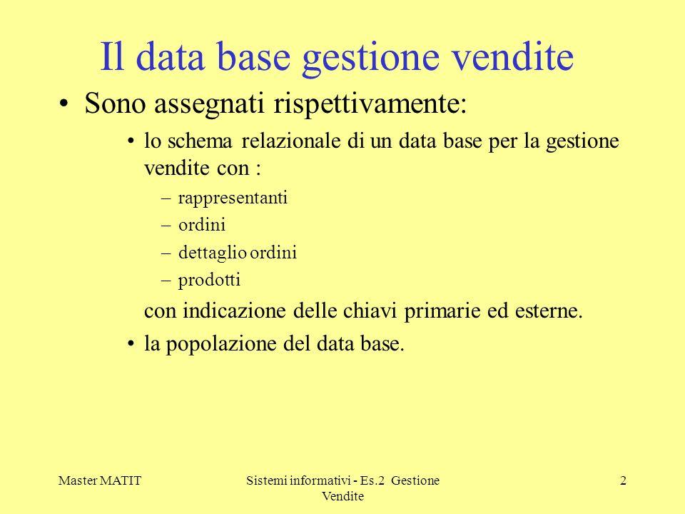Master MATITSistemi informativi - Es.2 Gestione Vendite 2 Il data base gestione vendite Sono assegnati rispettivamente: lo schema relazionale di un da