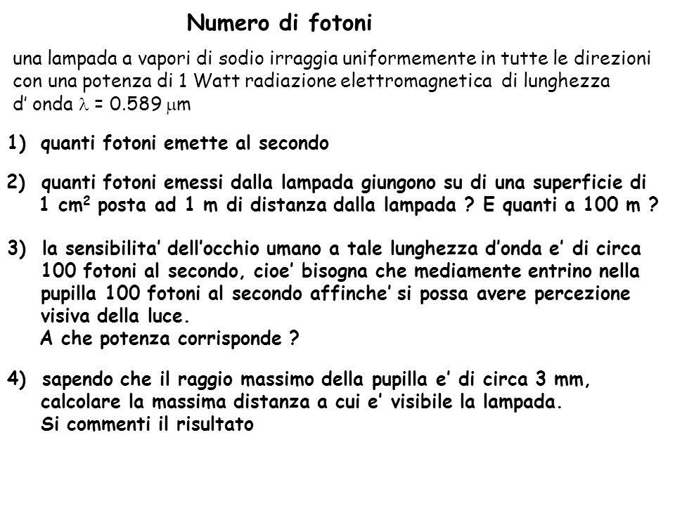 singoli se la lunghezza donda dei fotoni emessi e = 0.589 10 -6 m, lenergia dei singoli fotoni emessi dalla lampada, che evidentemente si assume sia monocromatica, sara : lenergia del fotone e data da :