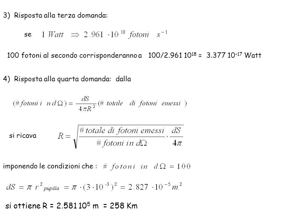 3) Risposta alla terza domanda: 100 fotoni al secondo corrisponderanno a 100/2.961 10 18 = 3.377 10 -17 Watt se 4) Risposta alla quarta domanda: dalla