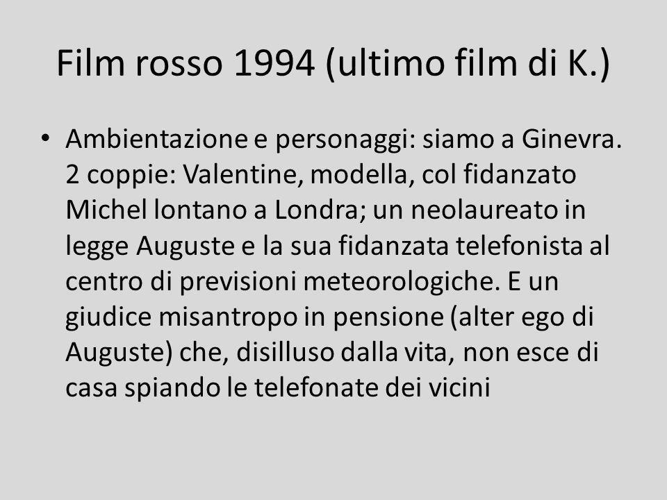 Film rosso 1994 (ultimo film di K.) Ambientazione e personaggi: siamo a Ginevra. 2 coppie: Valentine, modella, col fidanzato Michel lontano a Londra;