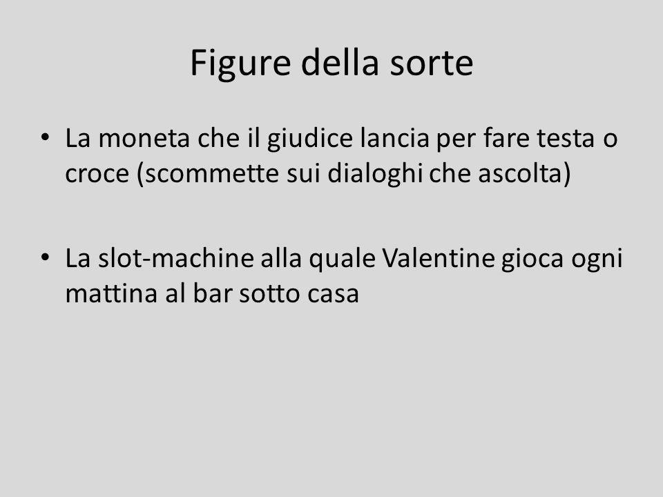 Figure della sorte La moneta che il giudice lancia per fare testa o croce (scommette sui dialoghi che ascolta) La slot-machine alla quale Valentine gi