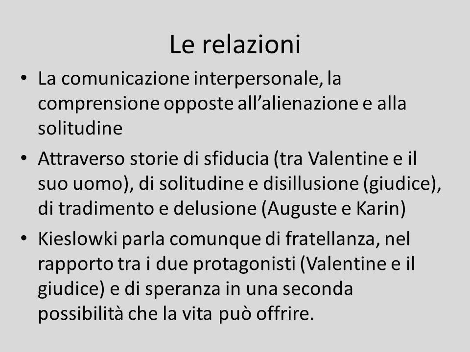 Le relazioni La comunicazione interpersonale, la comprensione opposte allalienazione e alla solitudine Attraverso storie di sfiducia (tra Valentine e