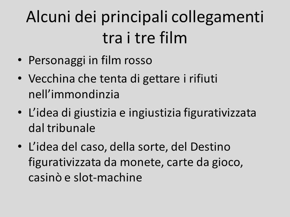Alcuni dei principali collegamenti tra i tre film Personaggi in film rosso Vecchina che tenta di gettare i rifiuti nellimmondinzia Lidea di giustizia