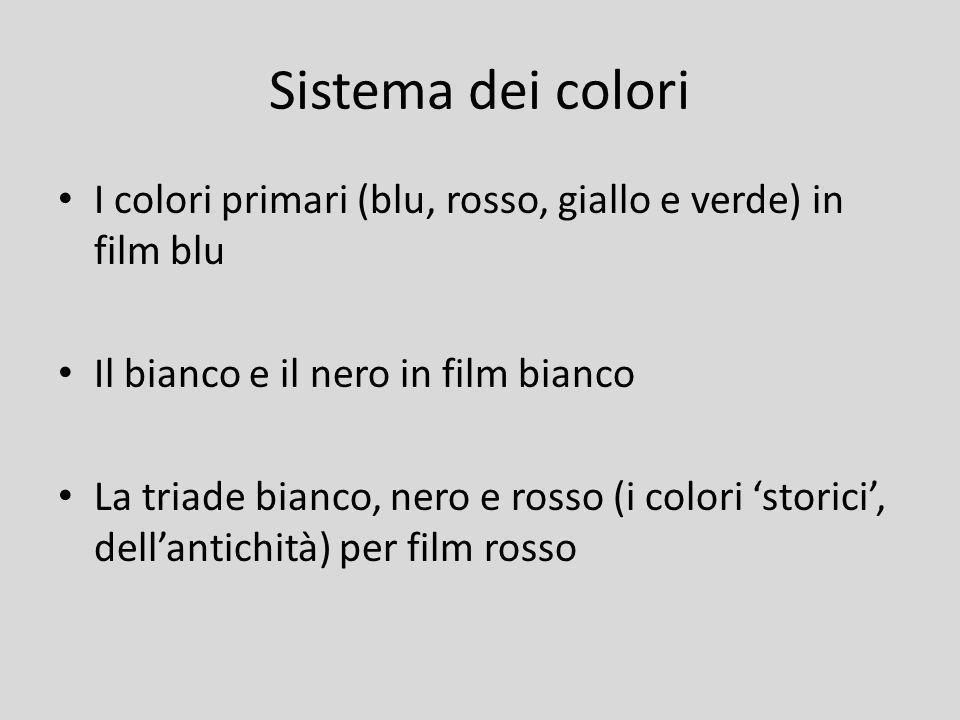 Sistema dei colori I colori primari (blu, rosso, giallo e verde) in film blu Il bianco e il nero in film bianco La triade bianco, nero e rosso (i colo