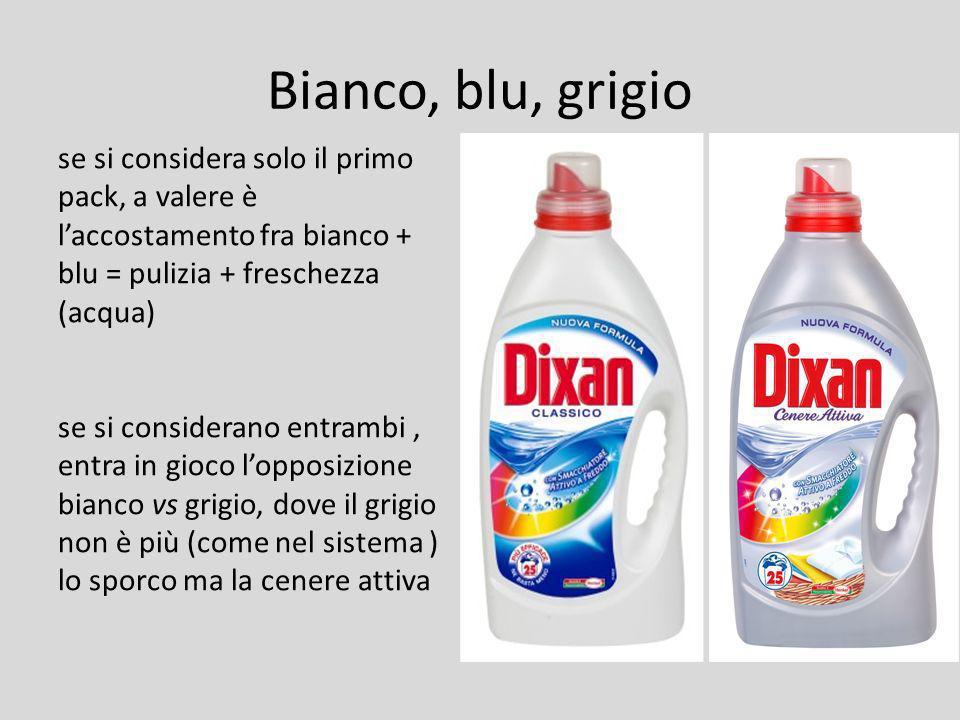 Bianco, blu, grigio se si considera solo il primo pack, a valere è laccostamento fra bianco + blu = pulizia + freschezza (acqua) se si considerano ent